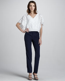 Nanette Lepore Mixed-Lace Cropped Top & Pleated Crepe Trousers