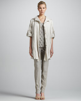 Donna Karan Rolled-Sleeve Tunic, Suede Net Tank Top, Cuffed Fold-Over Pants & Braided Lambskin Belt