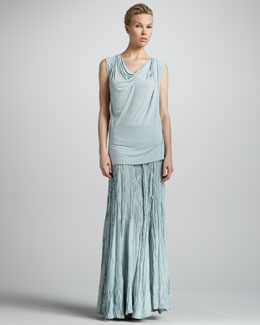 Donna Karan Sleeveless Draped Top & Jersey-Waist Broomstick Maxi Skirt