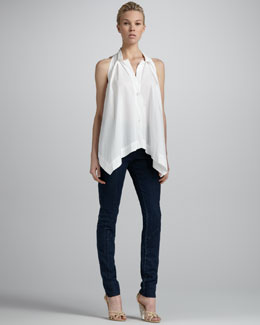 Donna Karan Pleated-Front Sleeveless Top & Second-Skin Seamed Jeans