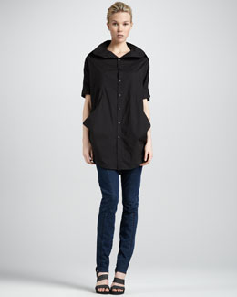 Donna Karan Drape-Sides Tunic & Second-Skin Seamed Jeans