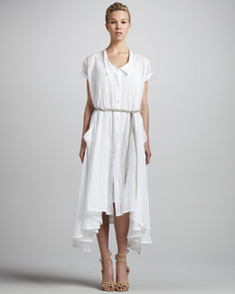 Donna Karan Cap-Sleeve Pintucked Button-Front Dress & Braided Lambskin Belt