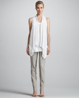 Donna Karan Sleeveless Drape-Front Cozy, Racerback Linen Tunic & Cuffed Fold-Over Pants