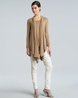 Donna Karan Long-Sleeve Drape-Front Cozy, Wide-Neck Knit Tee & Slim Side-Zip Ankle Pants
