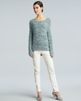 Donna Karan Wide-Neck Space Dye Sweater & Slim Side-Zip Ankle Pants