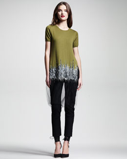 Wes Gordon Embroidered Tulle-Trim Knit Top & Stretch-Wool Motorcycle Pants