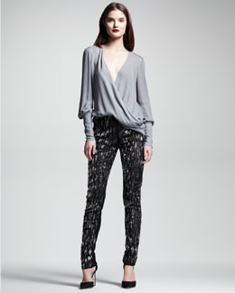 Wes Gordon Georgette Wrap Blouse & Hex Tulle Cigarette Pants