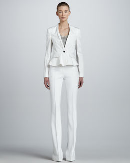 Burberry London One-Button Peplum Jacket & Seamed Flare Pants