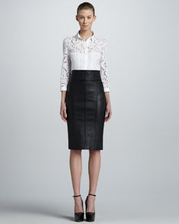 Burberry London Lace Combo Shirt & High-Waist Leather Pencil Skirt