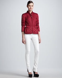Burberry London Quilted Zip-Front Jacket and Skinny Ankle-Zip Jeans