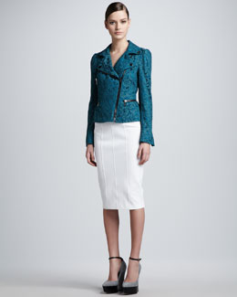 Burberry London Lace Motorcycle Jacket and High-Waisted Pencil Skirt