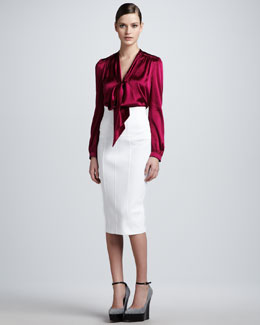 Burberry London Tie-Neck Satin Blouse & High-Waisted Pencil Skirt
