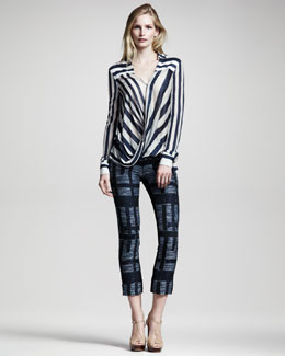 10 Crosby Derek Lam Striped Drape-Front Blouse & Printed Cropped Pants