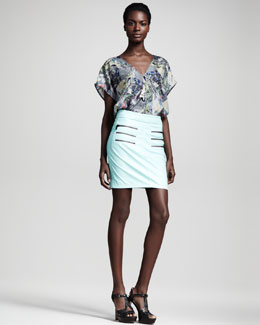 Kelly Wearstler Alchemy Kaleidoscope-Print Tee & Figurine Faux-Leather Skirt