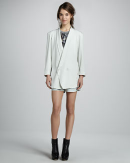 Theyskens' Theory Josephina Boyfriend Blazer & Panther Pleated Leather Shorts