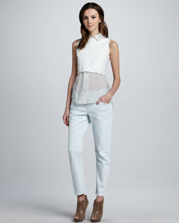 Theyskens' Theory Borty Cropped Leather Top & Pansu Jeans