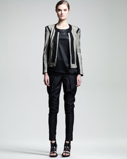 Helmut Lang Rift Stretch Leather Jacket & Vena Slouchy Modal Tee