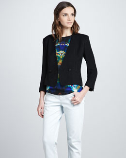 Theyskens' Theory Justed Leather Blazer & Balleh Printed Tee