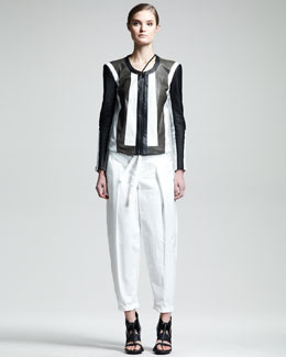 Helmut Lang Pax Colorblock Leather Jacket & Odyssey Stretch-Cotton Tie Pants