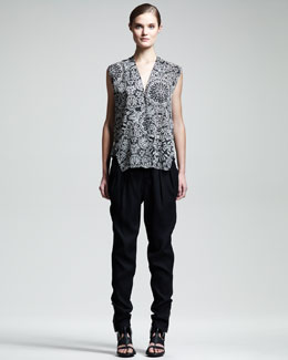 Helmut Lang Burnout Medallion-Print Shirt & Cove Suit Pants