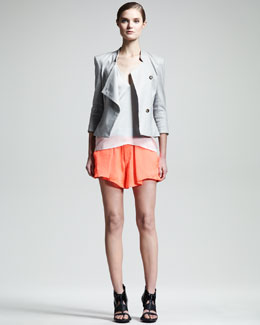 Helmut Lang Glossy Linen-Twill Blazer, Chroma Draped Top & Chroma Draped Shorts