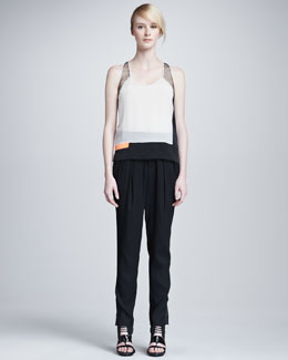 Helmut Lang Chroma Draped Colorblock Top & Cove Suiting Pants