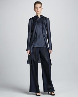 Giorgio Armani Long Satin Coat, Sleeveless Tunic, Paneled Wide-Leg Trousers