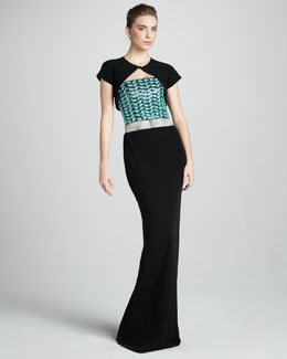 Giorgio Armani Silk Cap-Sleeve Bolero & Strapless Beaded Gown