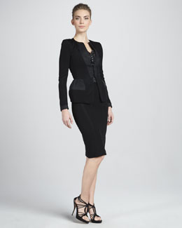 Giorgio Armani Jersey Peplum Jacket, Constellation-Print Sleeveless Blouse & Seamed Jersey Pencil Skirt