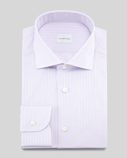 Ermenegildo Zegna Tonal-Stripe Dress Shirt & Tonal-Grid Silk Tie