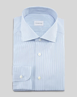 Ermenegildo Zegna Striped Dress Shirt & Dot-Lattice Silk Tie