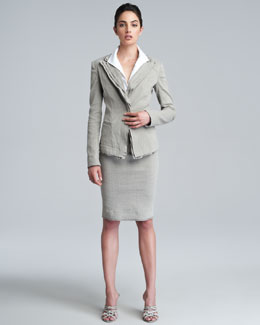 Donna Karan Layered Lapel Linen-Blend Jacket, Jersey-Back Poplin Bodysuit & Pull-On Straight Skirt
