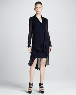 Donna Karan Long Draped Tunic & Cap-Sleeve Cowl Dress
