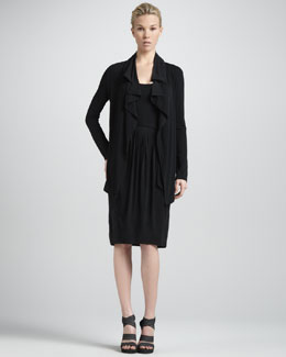 Donna Karan Flutter-Front Cardigan Jacket & Self-Belted Sleeveless Jersey Dress