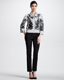 Oscar de la Renta Floral Guipure Scribble Jacket, Skinny High-Waist Stretch Pants & Patent Leather Turn-Lock Belt