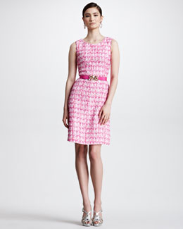 Oscar de la Renta Sleeveless Tweed Dress & Crystal-Buckle Skinny Faille Belt