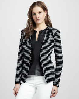 Theory Purposeful Striped Blazer & Ford Leather Peplum Top