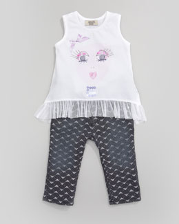 Armani Junior Graphic Tulle-Trim Tee & Metallic Logo Graphic Jeans