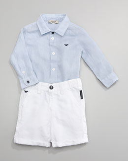 Armani Junior Classic Oxford Shirt & Denim Shorts