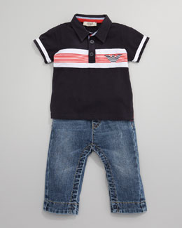 Armani Junior Striped Polo & Washed Denim Jeans