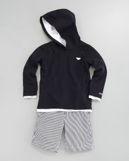 Armani Junior Contrast-Trim Hoodie & Striped Shorts