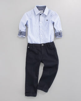 Armani Junior Oxford Shirt and Twill Dress Pants