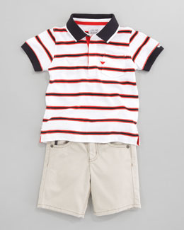 Armani Junior Striped Polo Shirt & Khaki Shorts
