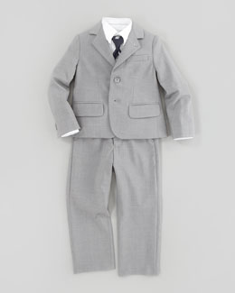 Armani Junior Heather-Gabardine Suit, White Button-Down Dress Shirt & Diagonal Striped Silk Tie