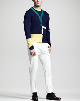 Jil Sander Colorblock Cardigan & Tipped Short-Sleeve Sweater