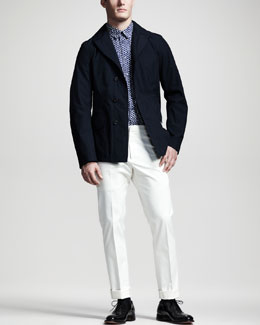 Jil Sander Asymmetric Three-Button Jacket & Hexagon-Print Sport Shirt