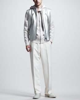 Maison Martin Margiela Metallic Leather Vest & Mixed-Knit Zip Hoodie