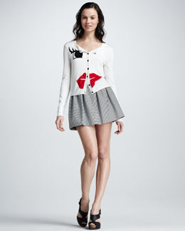 Alice + Olivia Lips & Eye Cardigan & Francys Striped A-Line Skirt