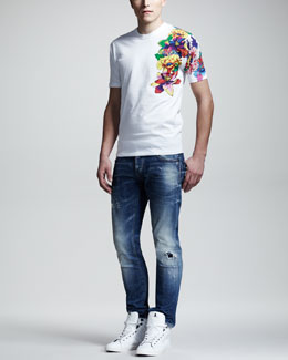 DSquared2 Flower Graphic Tee & Splash-Print Faded Slim Jeans