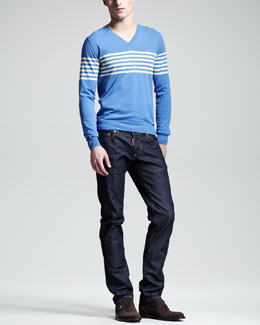 DSquared2 Striped V-Neck Sweater & Slim Dark Jeans